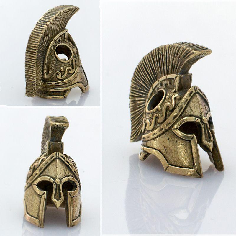 spartan helmet bead in brass by russki designs 450111brs