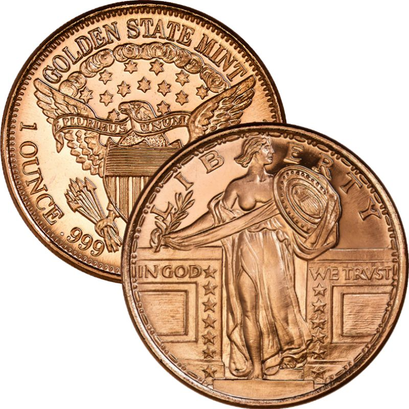Standing Liberty 1oz .999 1 oz .999 Pure Copper Round (Golden State Mint)