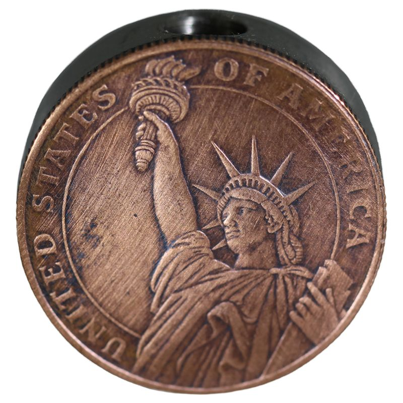 Statue Of Liberty Design In Copper (Black Patina) Stainless Steel Core Lanyard Bead By Barter Wear