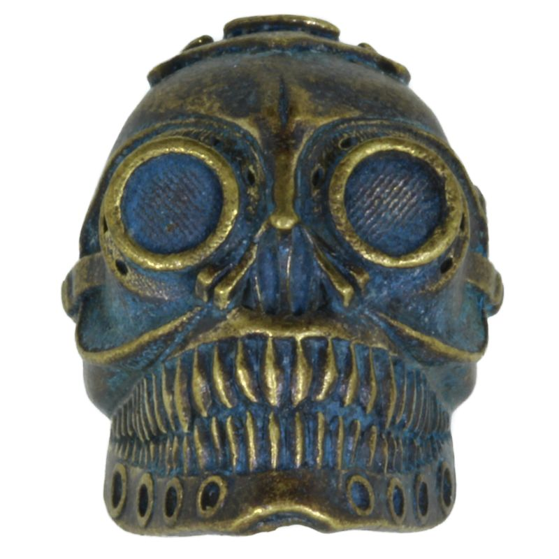 Steampunk Skull In Brass With Antique Patina By Techno Silver