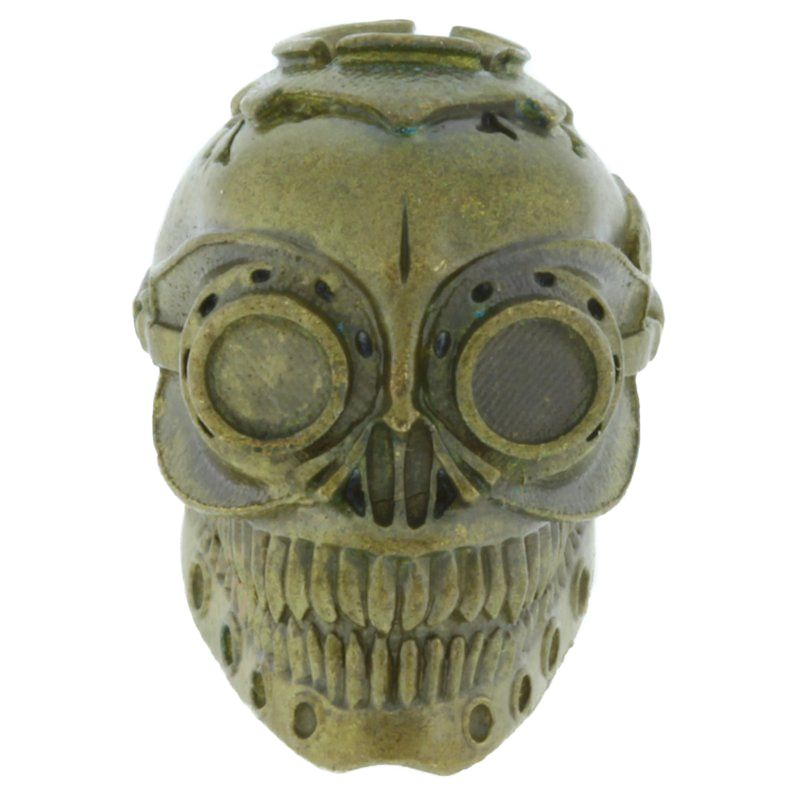 Steampunk Skull In Brass By Techno Silver