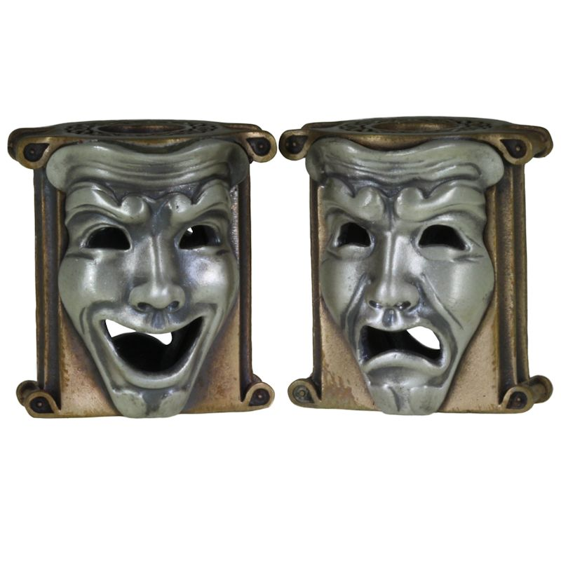Theatrical Mask (Bronze Base - .925 Sterling Silver Masks) By Techno Silver