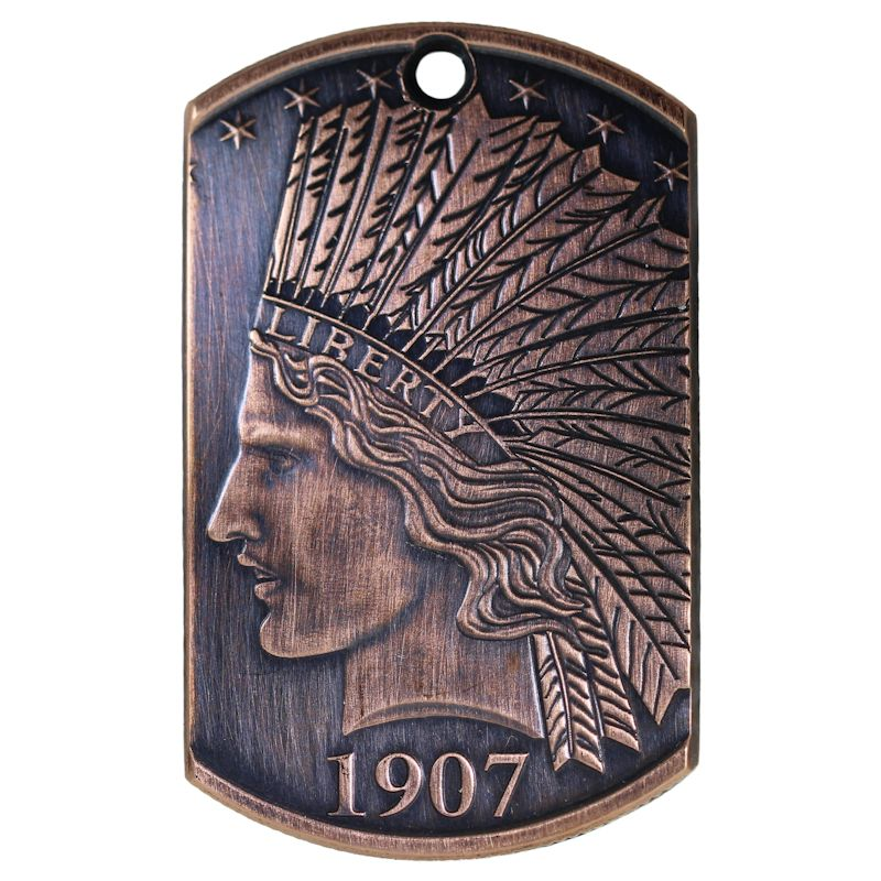 1907 $10. Indian Design Copper Dog Tag Necklace