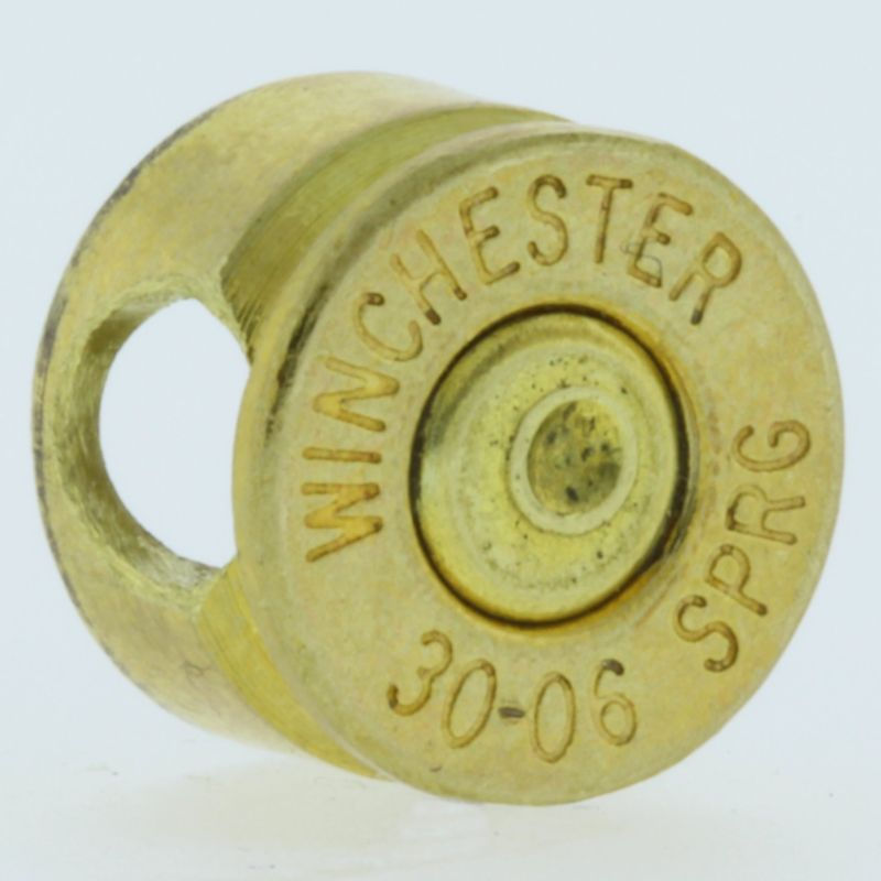 .30-06 Caliber Bullet Casing Bead In Brass With Brass Primer By Bullet Bangles