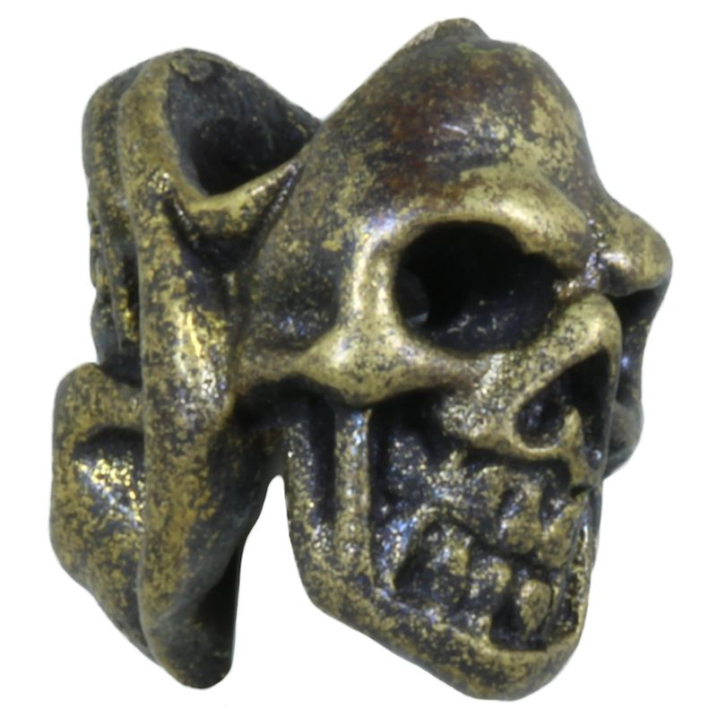 Two Face Skull in Brass With Black Patina by Covenant Everyday Gear