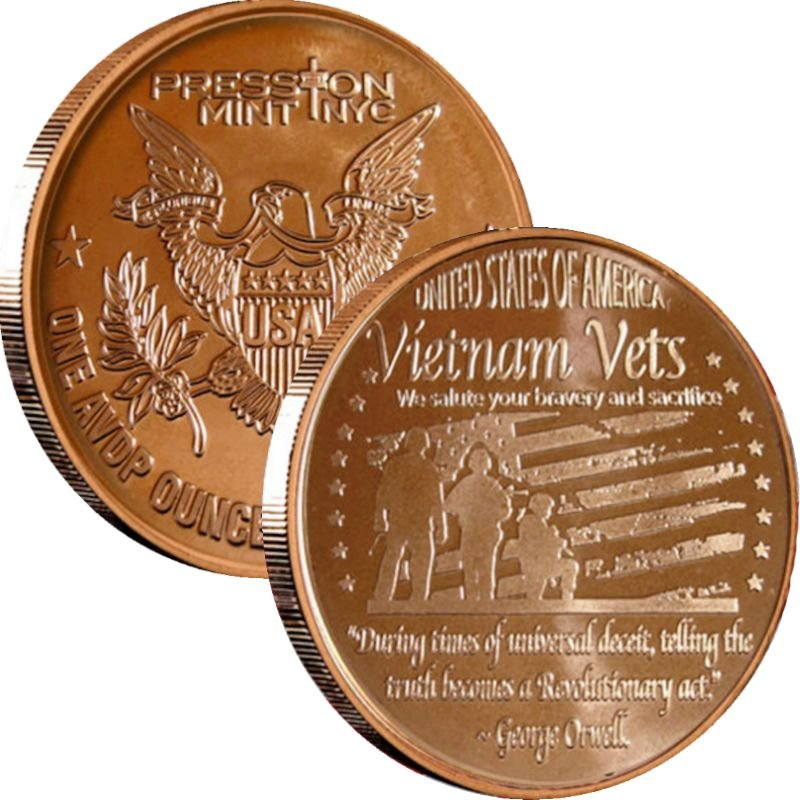 Vietnam Vets 1 oz .999 Pure Copper Round (Presston Mint)