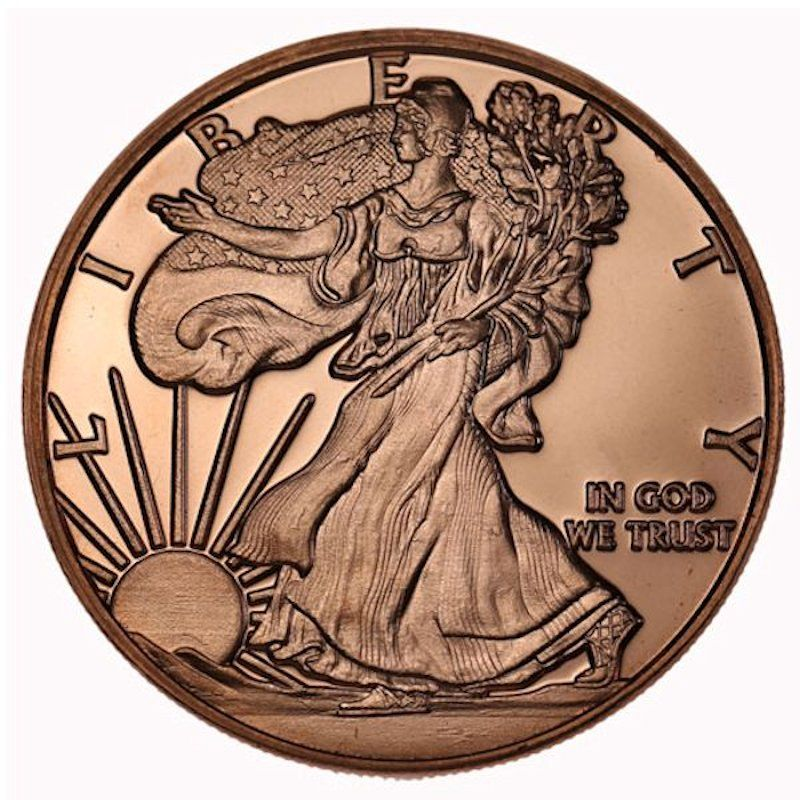 Walking Liberty 1 oz .999 Pure Copper Coin