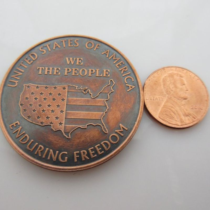 We The People (Enduring Freedom) 1 oz .999 Pure Copper Round (Presston Mint) (Black Patina)