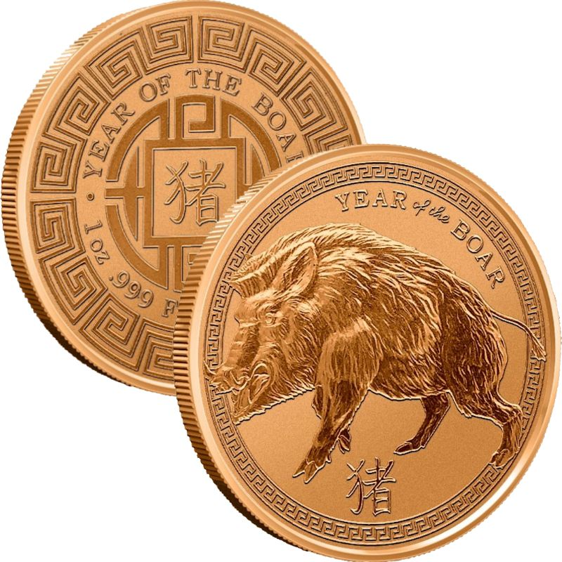 Year Of The Boar 1 oz .999 Pure Copper Round