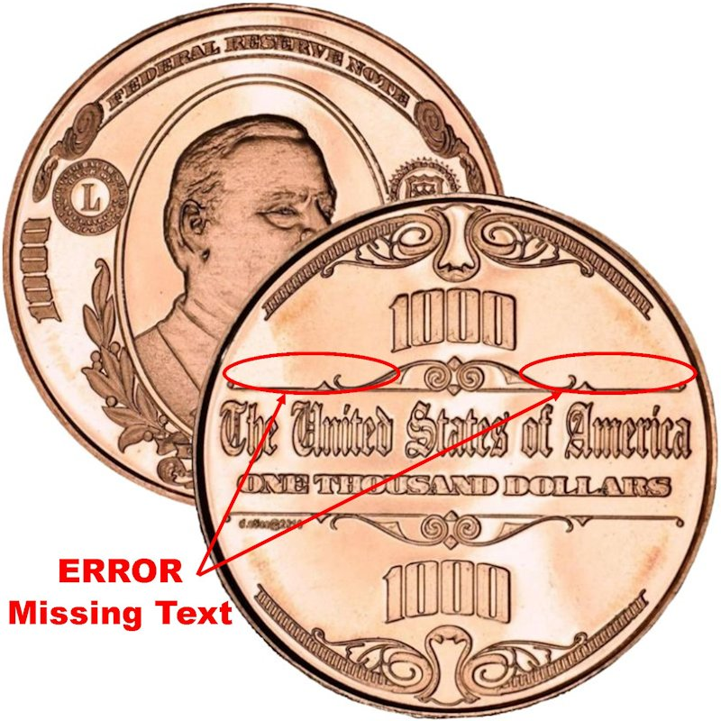 $1,000. Cleveland Design Note ERROR Very Rare 1 oz .999 Pure Copper Round