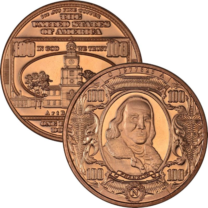 $100. Ben Franklin Design Note 1 oz .999 Pure Copper Round