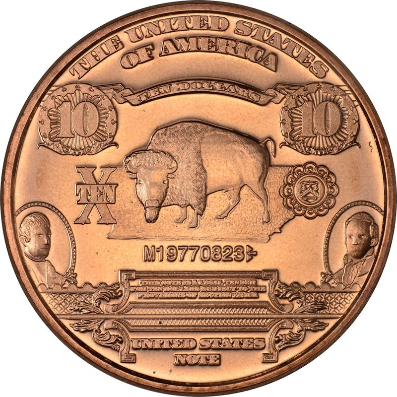 $10. Bison Design Note 1 oz .999 Pure Copper Round