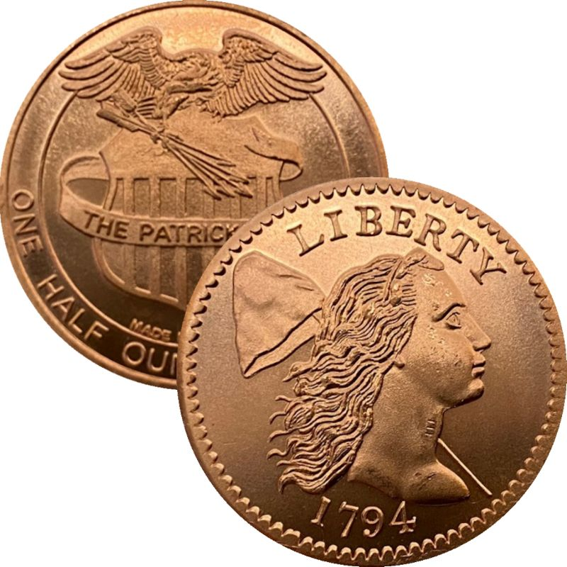 1794 Cent 1/2 oz .999 Pure Copper Round By Patrick Mint