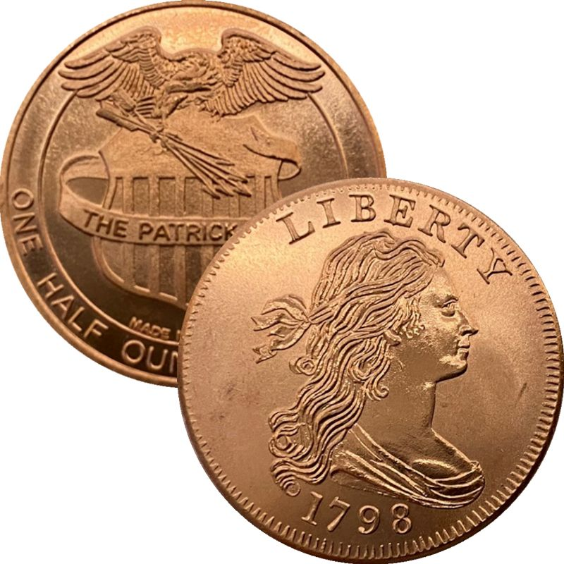 1798 Cent 1/2 oz .999 Pure Copper Round By Patrick Mint
