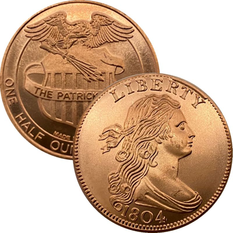 1804 Cent 1/2 oz .999 Pure Copper Round By Patrick Mint