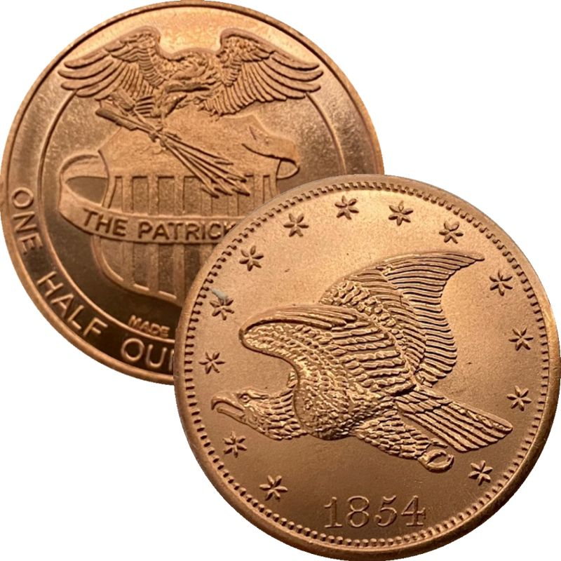 1854 Flying Eagle 1/2 oz .999 Pure Copper Round By Patrick Mint