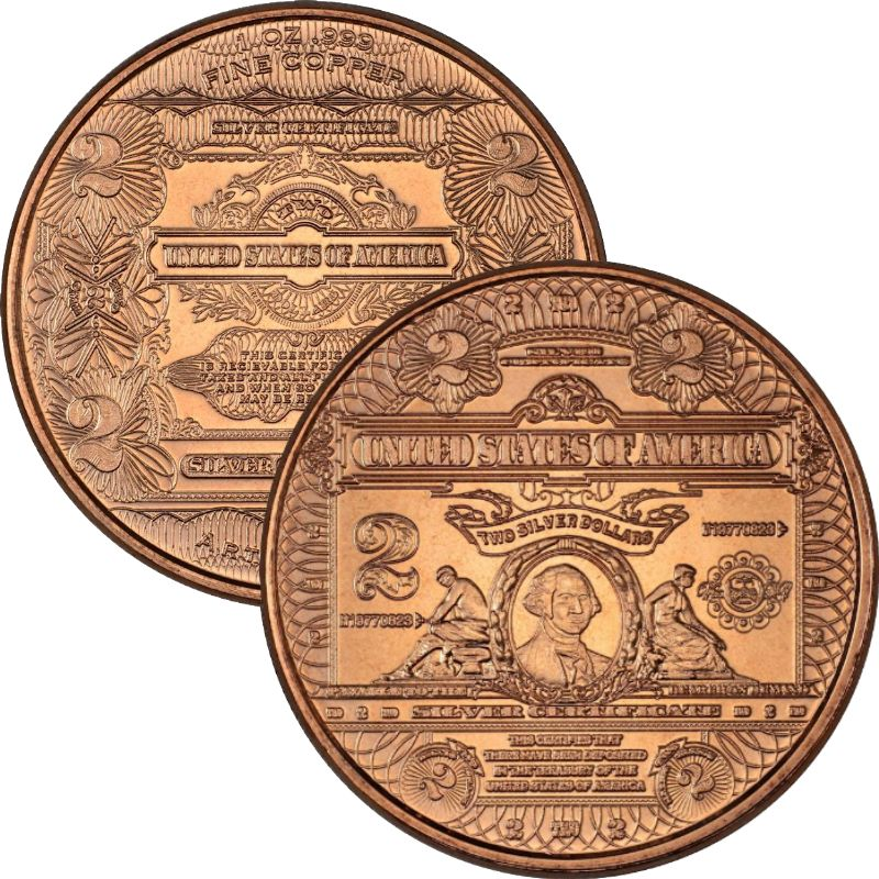 $2. Washington Design Note 1 oz .999 Pure Copper Round