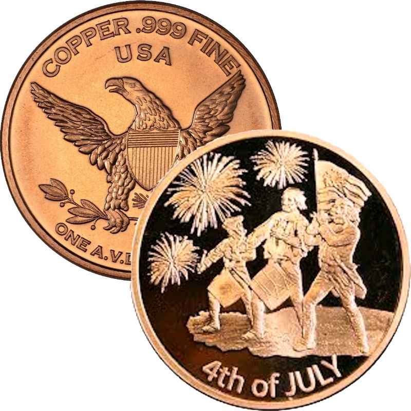 4th Of July (Independence Day) Private Mint ~ Holiday Series 1 oz .999 Pure Copper Round