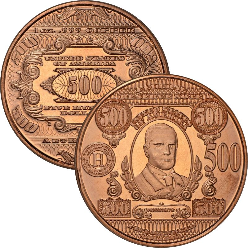 $500. McKinley Design Note 1 oz .999 Pure Copper Round