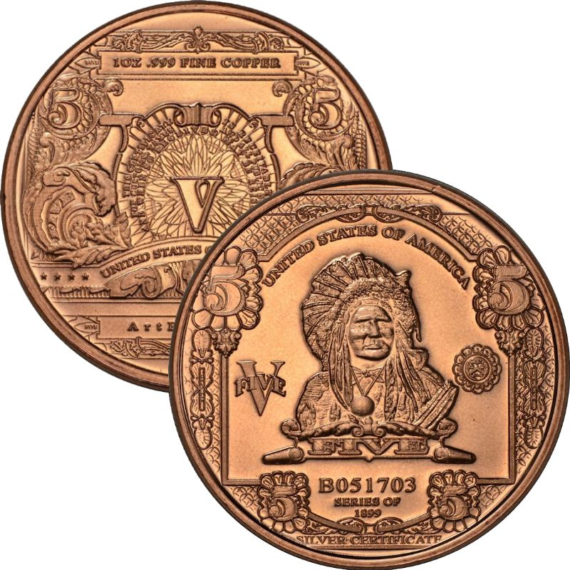$5. Indian Chief Design Note 1 oz .999 Pure Copper Round