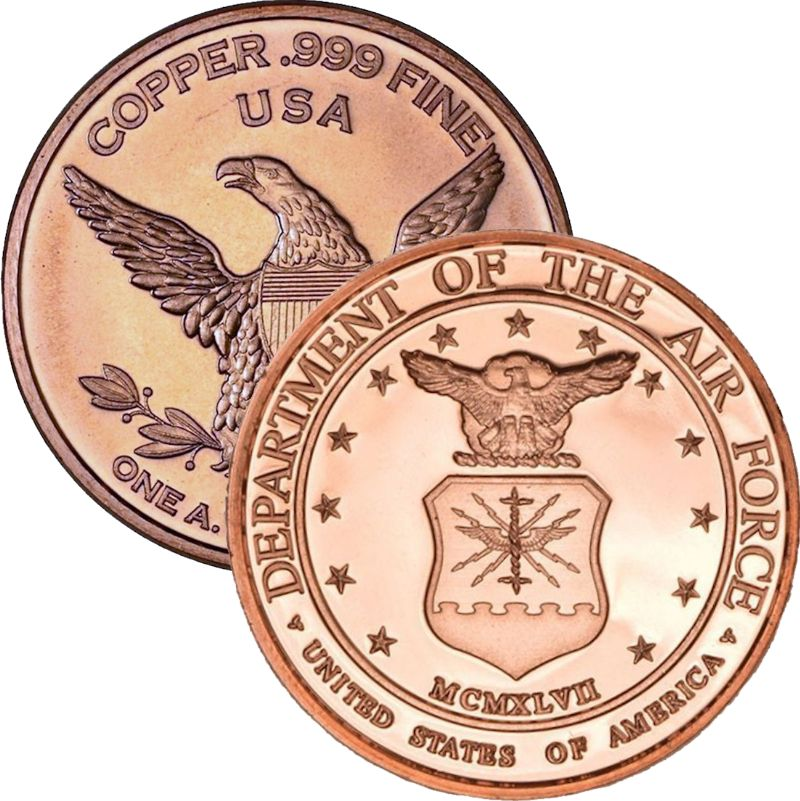Air Force (Private Mint) 1 oz .999 Pure Copper Round
