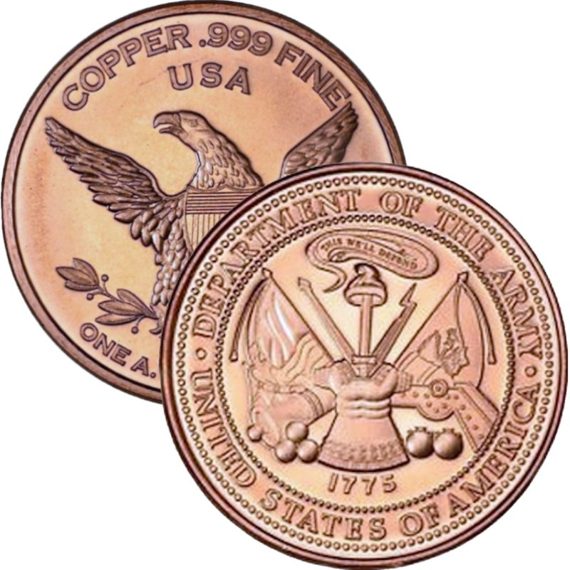 Army (Private Mint) 1 oz .999 Pure Copper Round