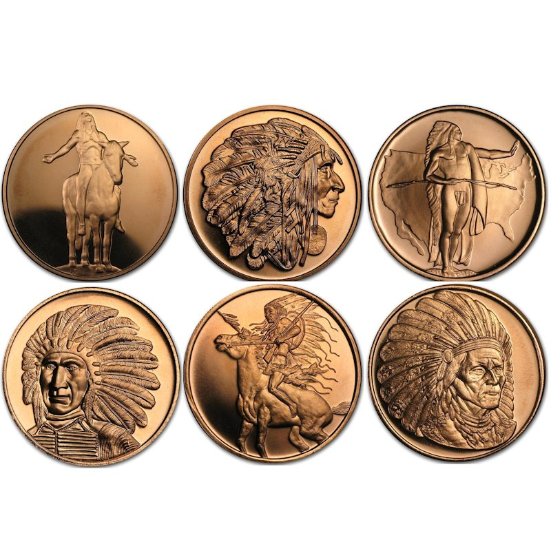 Complete Set of (6) American Indian Series 1 oz .999 Pure Copper Rounds
