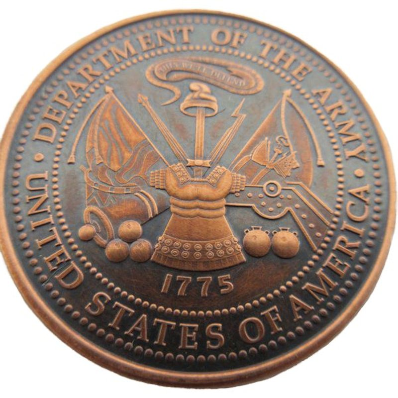 Army (Private Mint) 1 oz .999 Pure Copper Round (Black Patina)