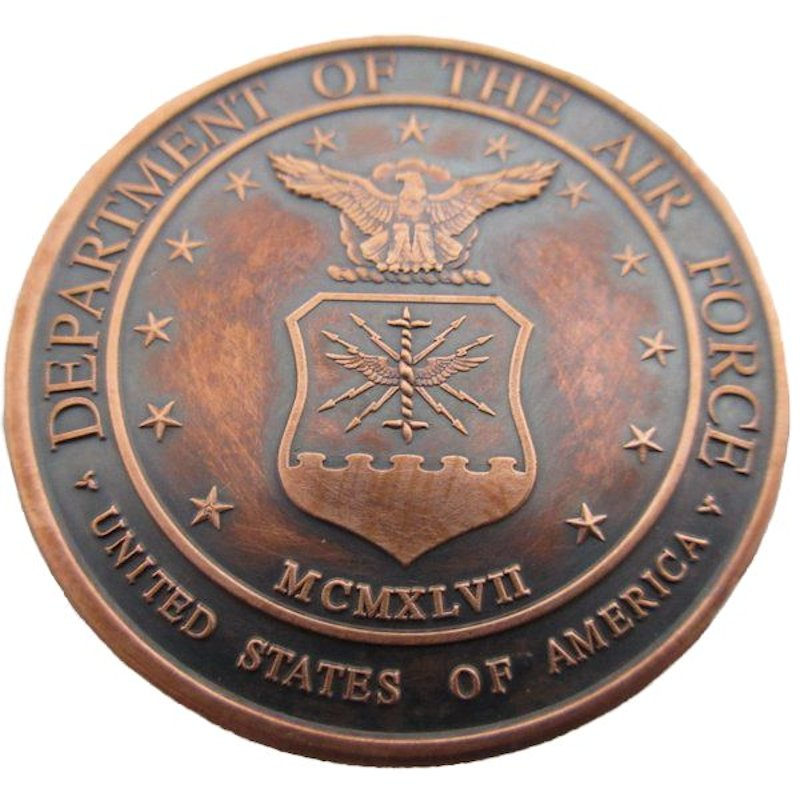 Air Force (Private Mint) 1 oz .999 Pure Copper Round (Black Patina)