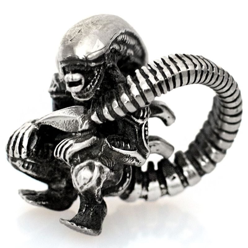 Alien with Tail Bead in Nickel Silver by Russki Designs