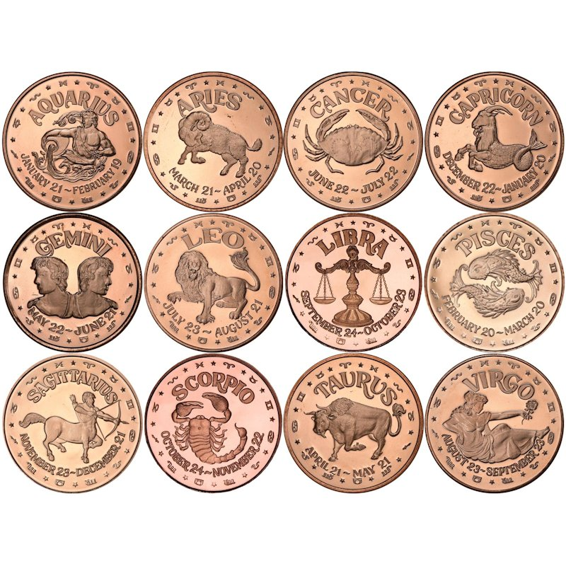 Complete Set of all (12) Different Zodiac Sign Designs 1 oz .999 Pure Copper Rounds