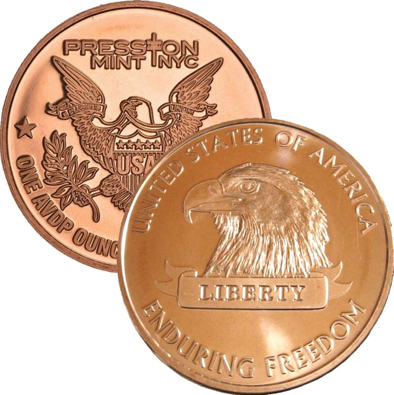 American Eagle (Enduring Freedom Series) 1 oz .999 Pure Copper Round (Presston Mint)