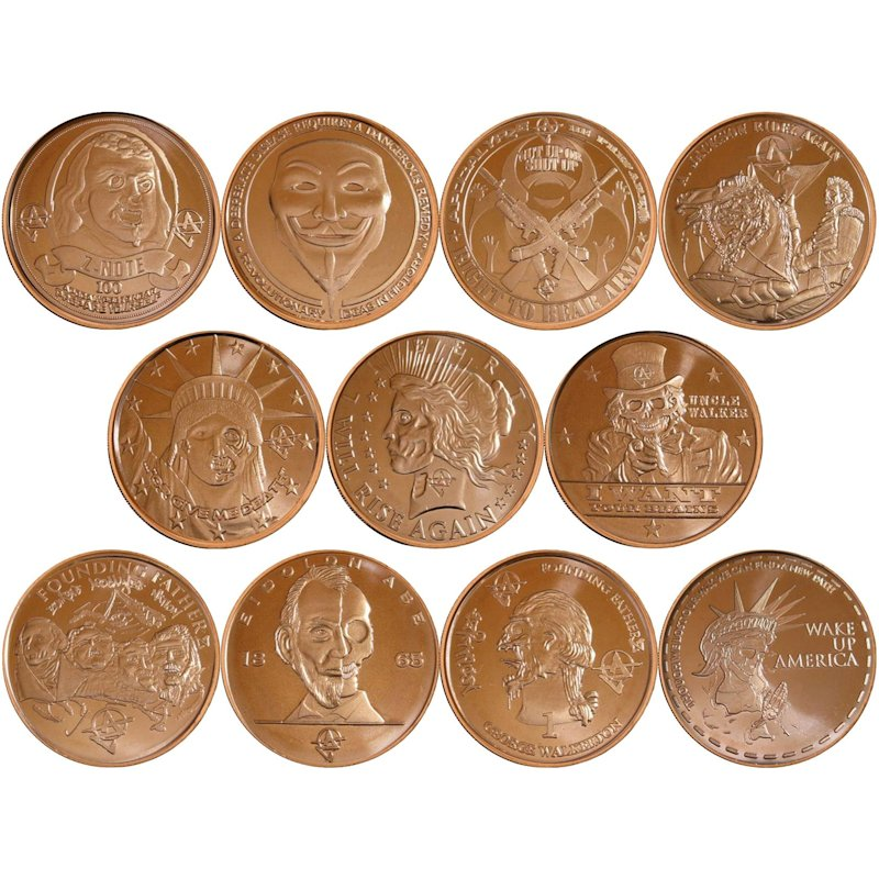 Complete Set of (11) ApocalypZe Series 1 oz .999 Pure Copper Rounds
