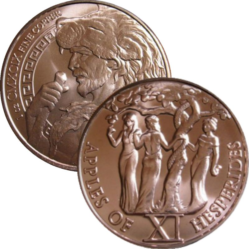 Apples Of Hesperides 1 oz .999 Pure Copper Round (11th Design of the 12 Labors of Hercules Series)