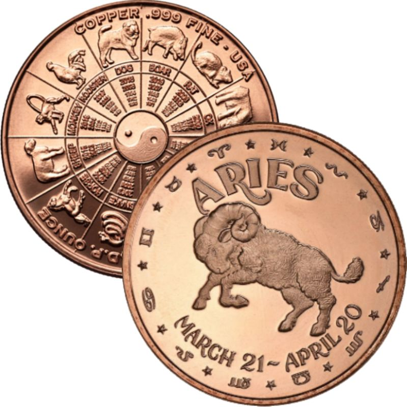 Copper Round Coin ARIES   sign of the ZODIAC  1 oz