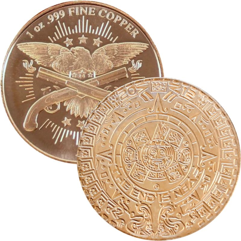 Aztec Calendar ~ The End Is Near (2013) 1 oz .999 Pure Copper Round