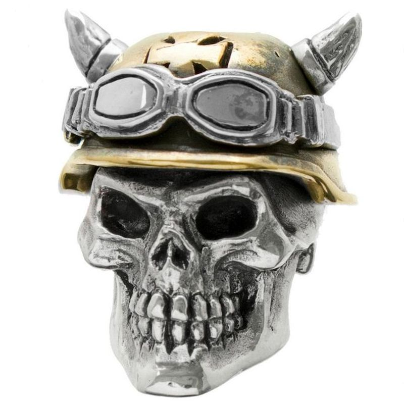 Biker #2 in .925 Sterling Silver and Bronze by GD Skulls