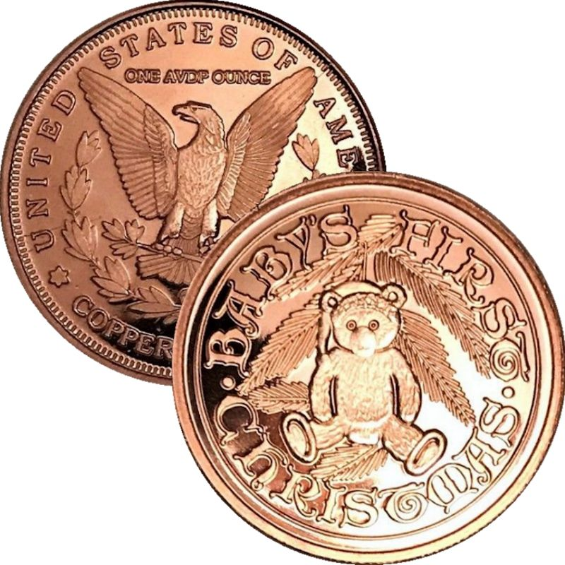 Baby's First Christmas (Sunshine Mint) 1 oz .999 Pure Copper Rounds