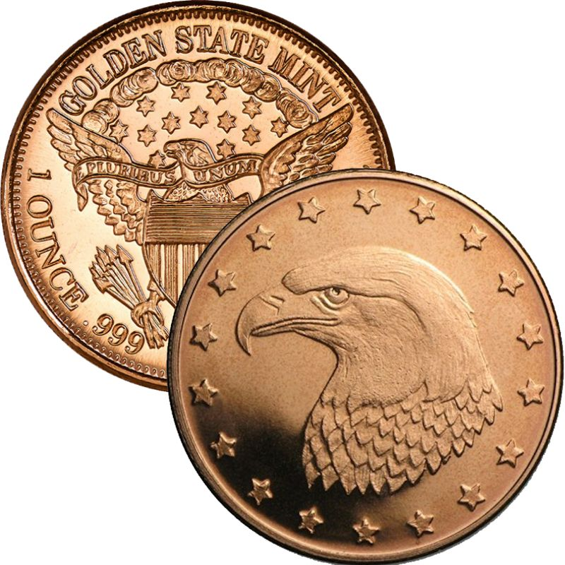 Bald Eagle 1 oz .999 Pure Copper Round (Golden State Mint)