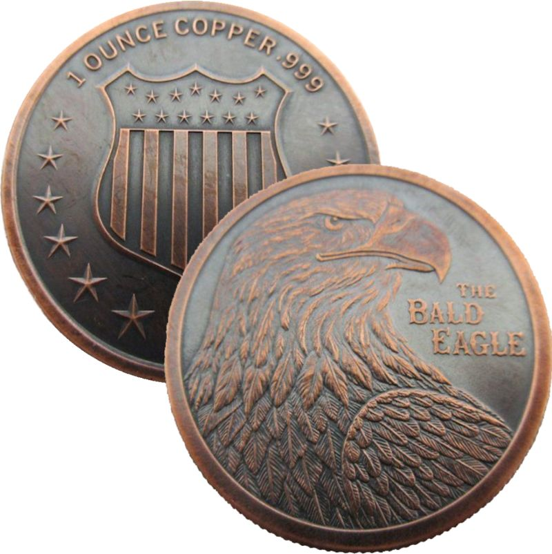 The Bald Eagle 1 oz .999 Pure Copper Round (Black Patina)