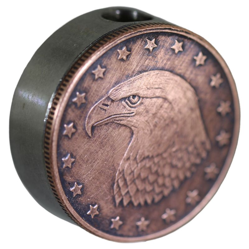 Bald Eagle Design In Copper (Black Patina) Stainless Steel Core Lanyard Bead By Barter Wear