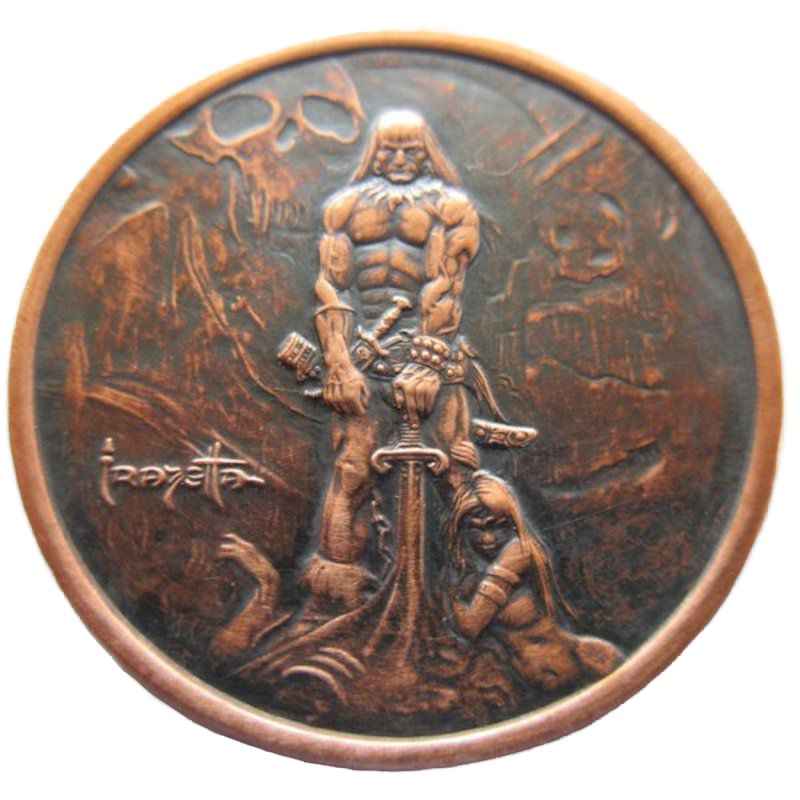 Barbarian 1 oz .999 Pure Copper Round (Black Patina)