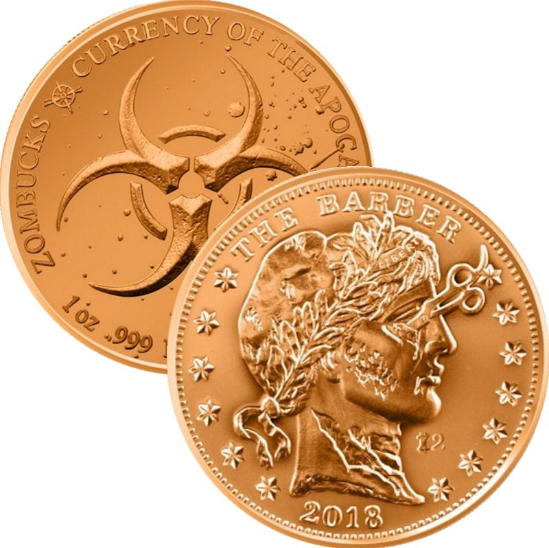 The Barber 1 oz .999 Pure Copper Round (4th Design of the Zombucks Series)