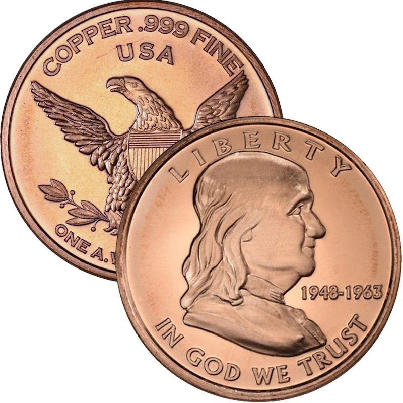 Benjamin Franklin 1 oz .999 Pure Copper Round