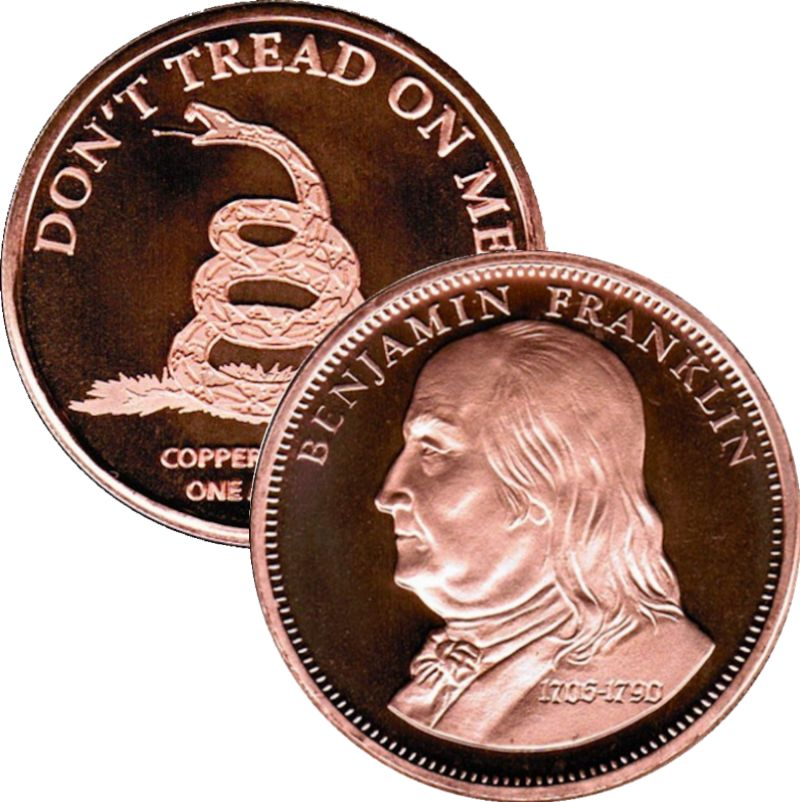 Benjamin Franklin (QSB Mint) 1 oz .999 Pure Copper Round