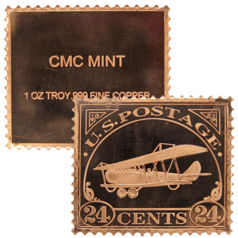 Biplane $0.24 Cent Stamp Design 1 oz .999 Fine Copper Bar
