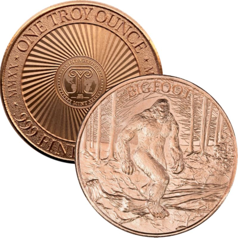 Bigfoot / Sasquatch (New Reverse) 1 oz .999 Pure Copper Round