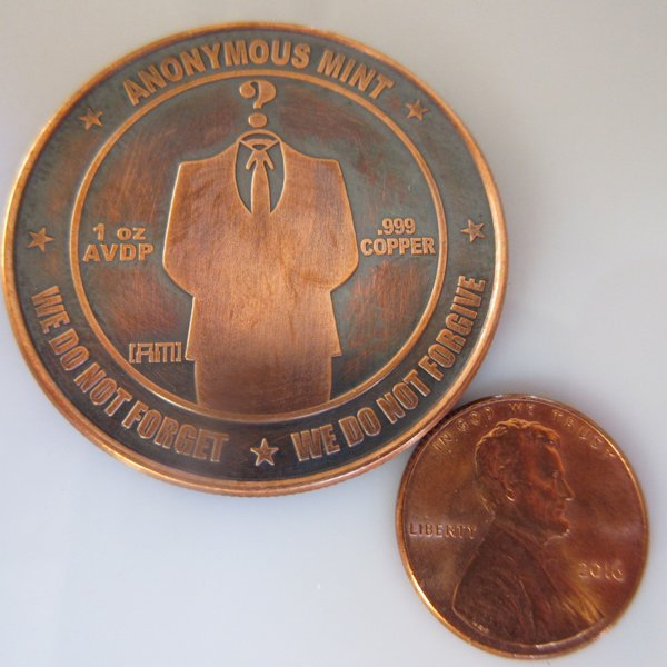 Bitcoin - The Faceless Man Anonymous Mint 1 oz .999 Pure Copper Round (Black Patina)