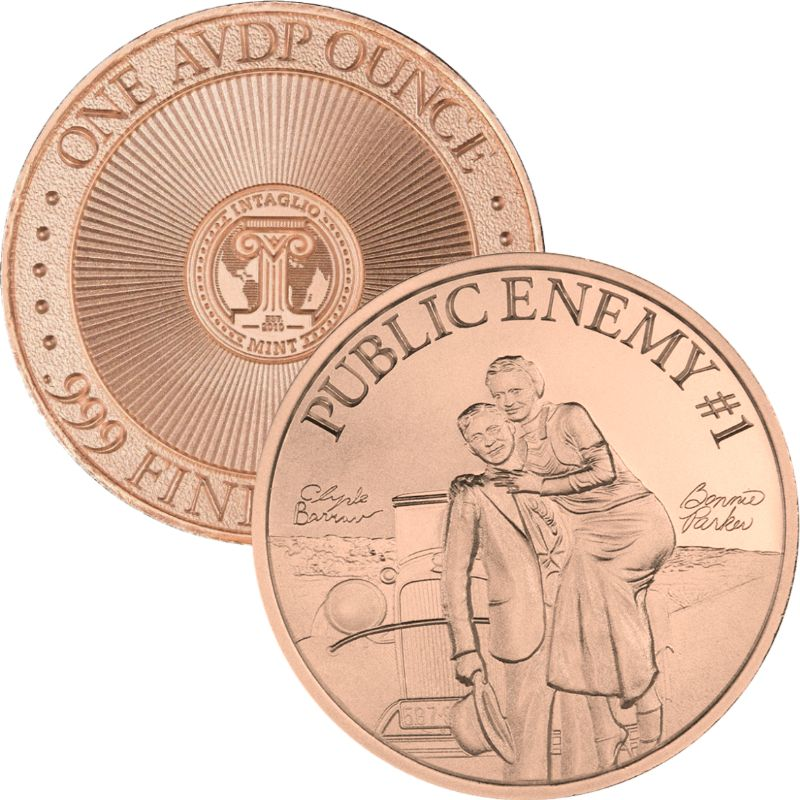 Bonnie and Clyde ~ Public Enemy #1 ~ 1 oz .999 Pure Copper Round