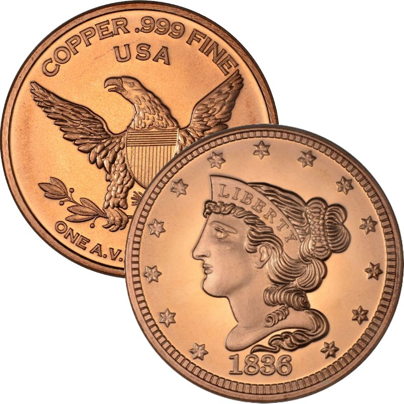 Braided Hair 1836 Large Cent Design 1 oz .999 Pure Copper Round
